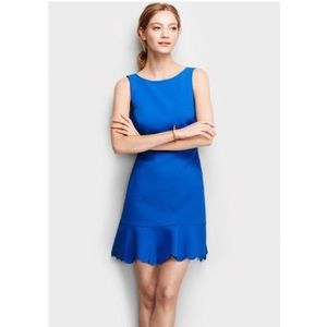J. Crew Blue Dress with Scalloped hem